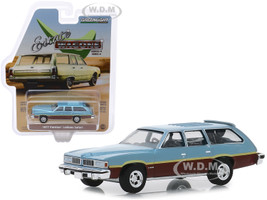 1977 Pontiac LeMans Safari Wagon Glacier Blue Metallic Woodgrain Light Blue Interior Estate Wagons Series 4 1/64 Diecast Model Car Greenlight 29970 D