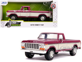 1979 Ford F-150 Pickup Truck Stock Plum Metallic Cream Just Trucks 1/24 Diecast Model Car Jada 31586
