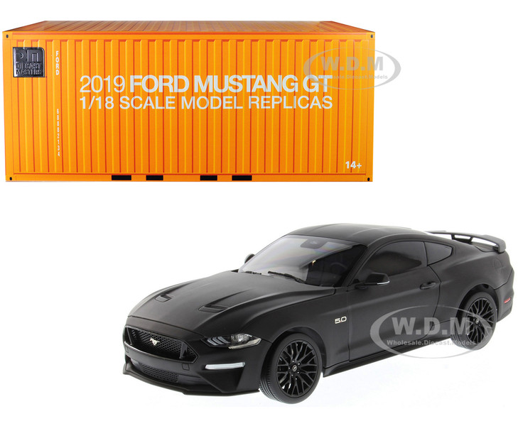 2019 Ford Mustang GT 5.0 Coupe Matt Black 1/18 Diecast Model Car Diecast Masters 61005