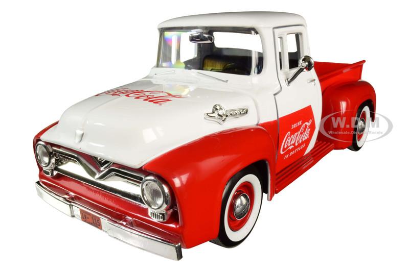1955 Ford F-100 Pickup Truck Red White Vending Machine Accessory Coca Cola 1/24 Diecast Model Car Motorcity Classics 424055