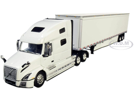 Volvo VNL 760 High-Roof Sleeper Cab 53' Dry Goods Trailer Skirts Glacier White 1/64 Diecast Model DCP First Gear 60-0643
