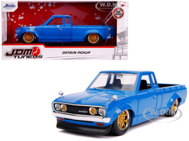 Datsun Pickup Truck Bright Blue Gold Wheels JDM Tuners 1/24 Diecast Model Car Jada 31603