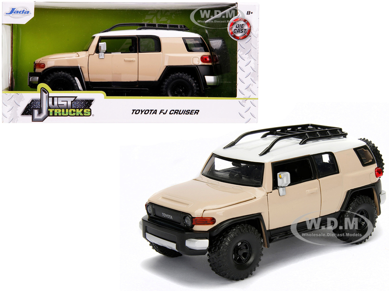 Toyota FJ Cruiser Roof Rack Beige White Top Just Trucks 1/24 Diecast Model Car Jada 99319