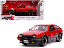 1986 Toyota Trueno AE86 RHD Right Hand Drive Glossy Red Black JDM Tuners 1/24 Diecast Model Car Jada 99577