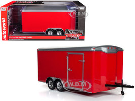 Four Wheel Enclosed Trailer Red Silver Top 1/18 Scale Model Cars Autoworld AMM1218