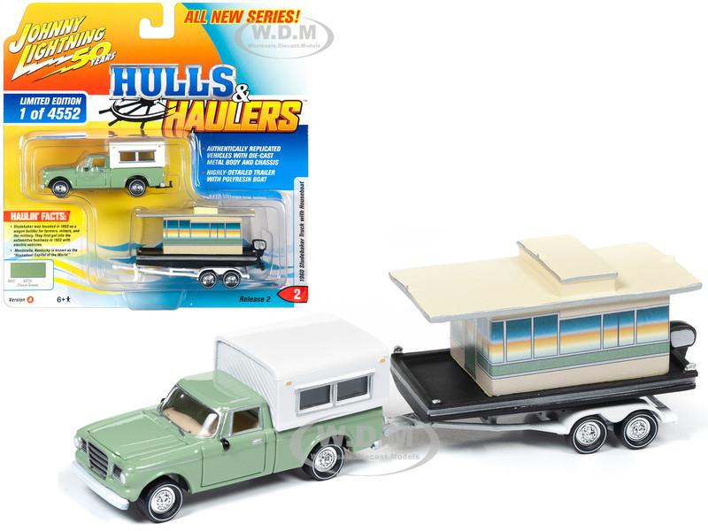 1960 Studebaker Pickup Truck Camper Shell Oasis Green Houseboat Limited Edition 4552 pieces Worldwide Hulls & Haulers Series 2 Johnny Lightning 50th Anniversary 1/64 Diecast Model Car Johnny Lightning JLBT012 A JLSP067