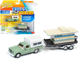 1960 Studebaker Pickup Truck Camper Shell Oasis Green Houseboat Limited Edition 4552 pieces Worldwide Hulls & Haulers Series 2 Johnny Lightning 50th Anniversary 1/64 Diecast Model Car Johnny Lightning JLBT012 A JLSP067