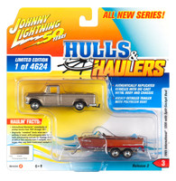 1965 International 1200 Pickup Truck Champagne Mist Gold Metallic Split-Cockpit Boat Limited Edition 4624 pieces Worldwide Hulls & Haulers Series 2 Johnny Lightning 50th Anniversary 1/64 Diecast Model Car Johnny Lightning JLBT012 A JLSP068