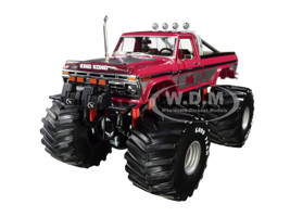 1975 Ford F-250 Ranger XLT Jeff Dane's Monster Truck Pink 66-Inch Tires King Kong Kings of Crunch Series 1/18 Diecast Model Car Greenlight 13539