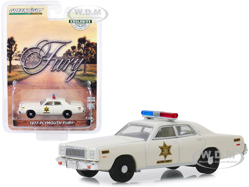 1977 Plymouth Fury Cream Hazzard County Sheriff Hobby Exclusive 1/64 Diecast Model Car Greenlight 30110