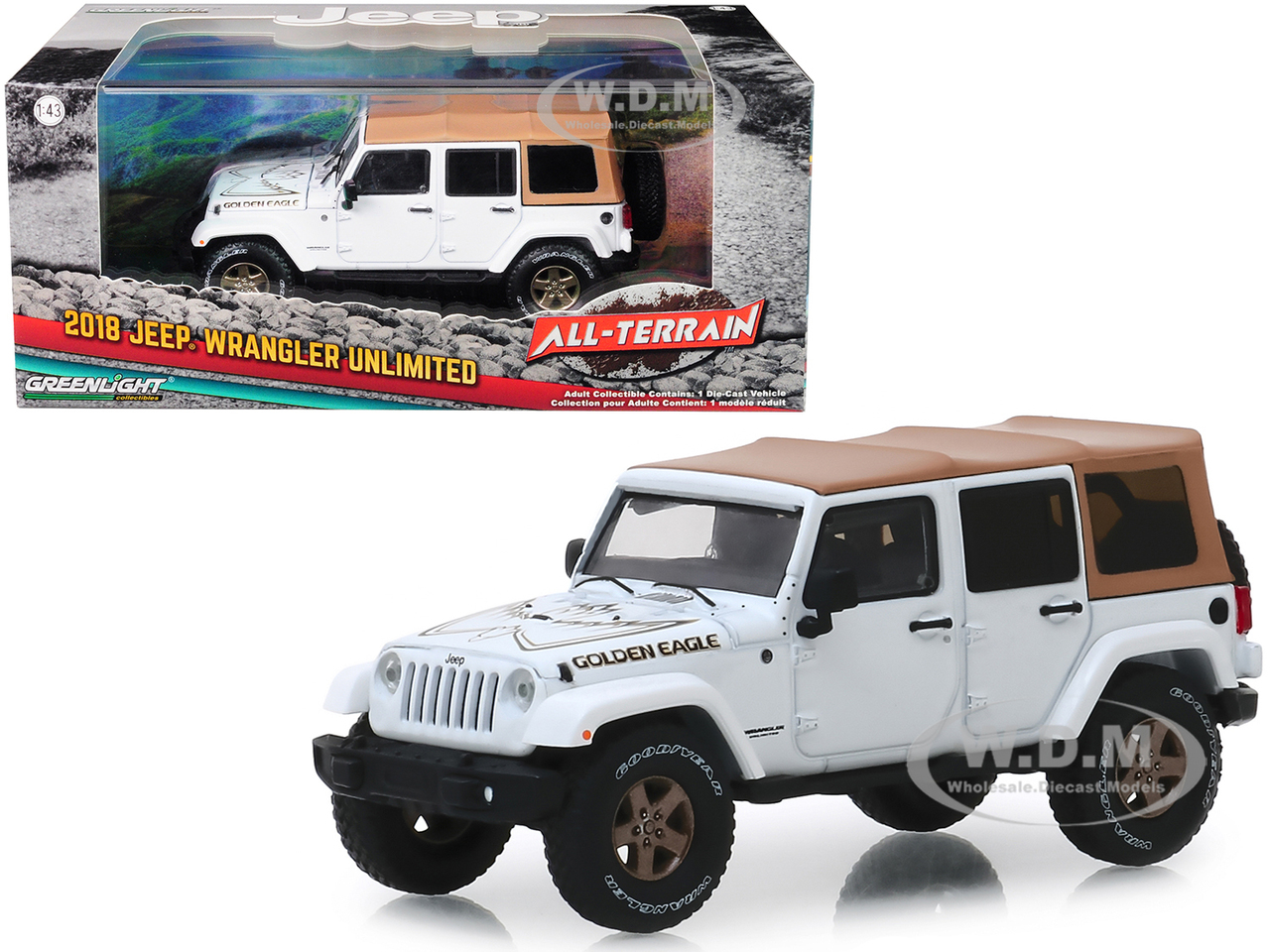 All White Jeep Wrangler >> 2018 Jeep Wrangler Unlimited Golden Eagle White With Tan Top All Terrain Series 1 43 Diecast Model Car By Greenlight