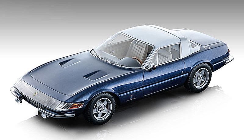 1969 Ferrari 365 GTB/4 Daytona Coupe Speciale Metallic Blue Tour de France White Top Mythos Series Limited Edition 140 pieces Worldwide 1/18 Model Car Tecnomodel TM18-108 A