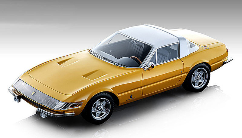 1969 Ferrari 365 GTB/4 Daytona Coupe Speciale Gloss Ferrari Yellow White Top Mythos Series Limited Edition 70 pieces Worldwide 1/18 Model Car Tecnomodel TM18-108 C