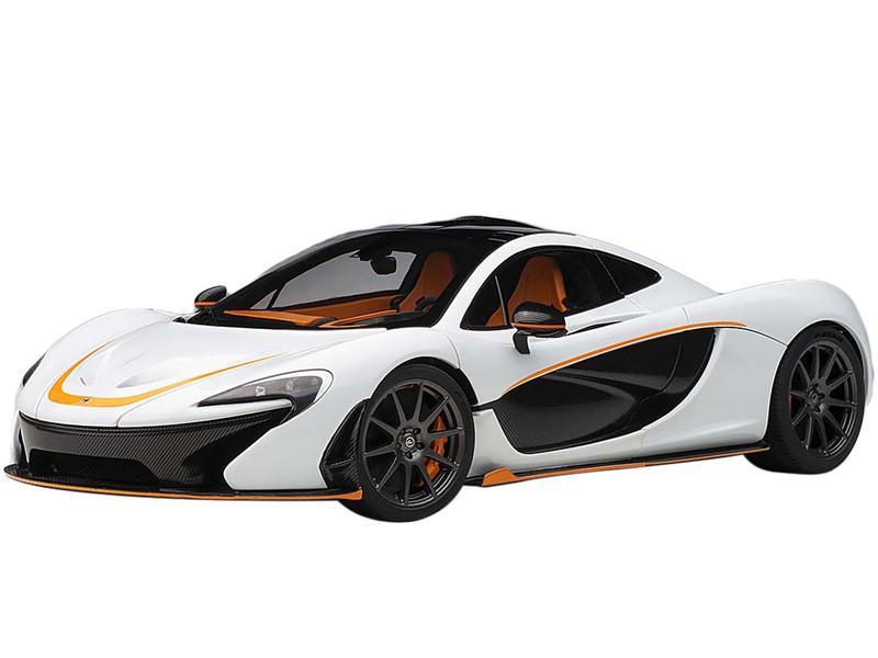 McLaren P1 Alaskan Diamond White Carbon Fiber Orange Accents 1/18 Model Car Autoart 76064