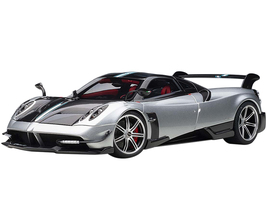 Pagani Huayra BC Grigio Mercurio Silver Gray Carbon Fiber Red Interior 1/18 Diecast Model Car Autoart 78278