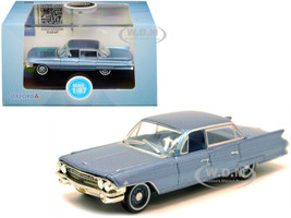 1961 Cadillac Sedan DeVille Nautilus Blue Metallic Blue Interior 1/87 HO Scale Diecast Model Car Oxford Diecast 87CSD61003