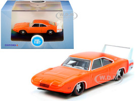 1969 Dodge Charger Daytona Orange White Stripe 1/87 HO Scale Diecast Model Car Oxford Diecast 87DD69002