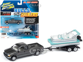 2004 Ford F-250 Pickup Truck Dark Shadow Gray Metallic Pontoon Boat Boat Limited Edition 4504 pieces Worldwide Hulls & Haulers Series 2 Johnny Lightning 50th Anniversary 1/64 Diecast Model Car Johnny Lightning JLBT012B JLSP069