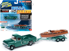 1965 International 1200 Pickup Truck Medium Turquoise Metallic Split-Cockpit Boat Limited Edition 4576 pieces Worldwide Hulls & Haulers Series 2 Johnny Lightning 50th Anniversary 1/64 Diecast Model Car Johnny Lightning JLBT012B JLSP071
