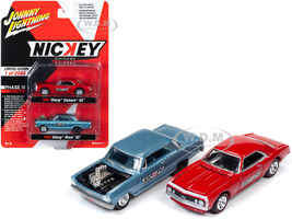 1965 Chevrolet Nova SS Blue Metallic 1967 Chevrolet Camaso SS Red 2 piece Set Nickey Limited Edition 2244 pieces Worldwide 1/64 Diecast Model Cars Johnny Lightning JLPK009