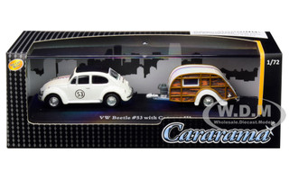 Volkswagen Beetle #53 Herbie Caravan III Travel Trailer Display Showcase 1/72 Diecast Model Car Cararama 12812 M
