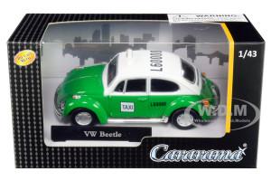 Volkswagen Beetle Taxi Green White 1/43 Diecast Model Car Cararama 41547