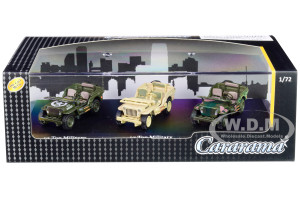 1/4 Ton Military Vehicles Set 3 pieces Display Showcase 1/72 Diecast Model Cars Cararama 71314 M