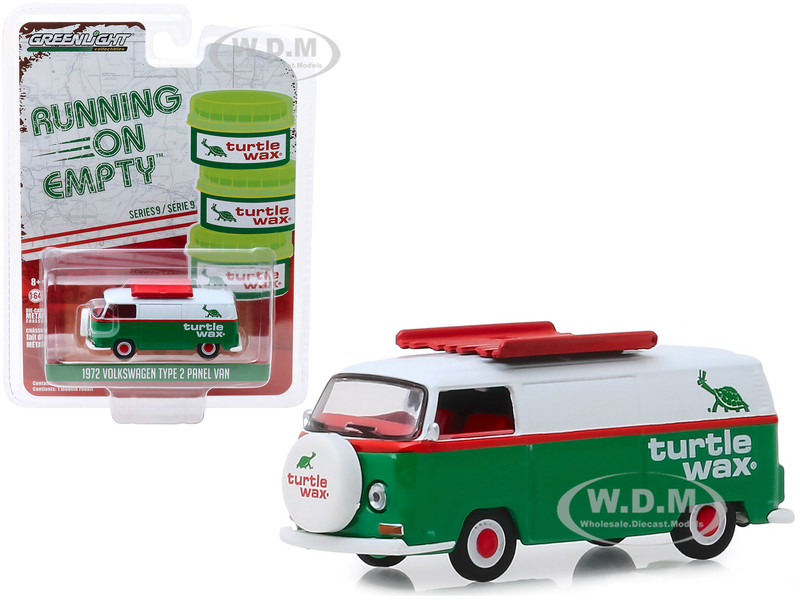 1972 Volkswagen Type 2 Panel Van Green White Turtle Wax Running on Empty Series 9 1/64 Diecast Model Car Greenlight 41090 D