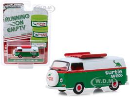 1972 Volkswagen Type 2 Panel Van Green White Turtle Wax Running on Empty Series 9 1/64 Diecast Model Car Greenlight 41090 D