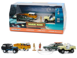 Waikiki Beach Summer Bash 6 piece Diorama Set 4 Cars and 2 Figurines 1/64 Diecast Model Cars Greenlight 58050