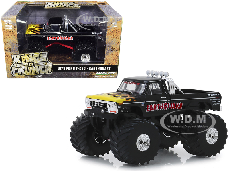 1975 Ford F-250 Monster Truck 66-Inch Tires Earthquake Black Yellow Flames 1/43 Diecast Model Car Greenlight 88022