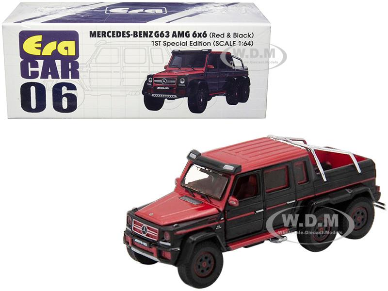 Mercedes Benz G63 AMG 6x6 Pickup Truck Red Black 1st Special Edition 1/64 Diecast Model Car Era Car MB196X6RF06