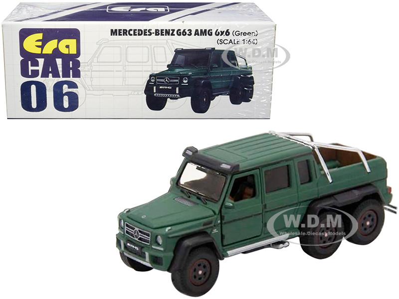 Mercedes Benz G63 AMG 6x6 Pickup Truck Green 1/64 Diecast Model Car Era Car MB196X6RN06