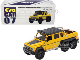 Mercedes Benz G63 AMG 6x6 Pickup Truck Spotlight Yellow Black Top 1/64 Diecast Model Car Era Car MB196X6RN07