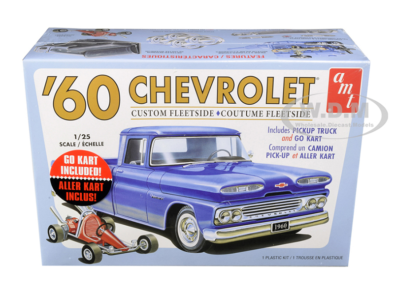 Skill 2 Model Kit 1960 Chevrolet Custom Fleetside Pickup Truck Go Kart 1/25 Scale Model AMT AMT1063 M