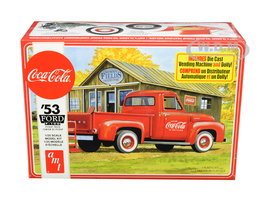 Skill 3 Model Kit 1953 Ford F-100 Pickup Truck Coca Cola Vending Machine Dolly 1/25 Scale Model AMT AMT1144 M
