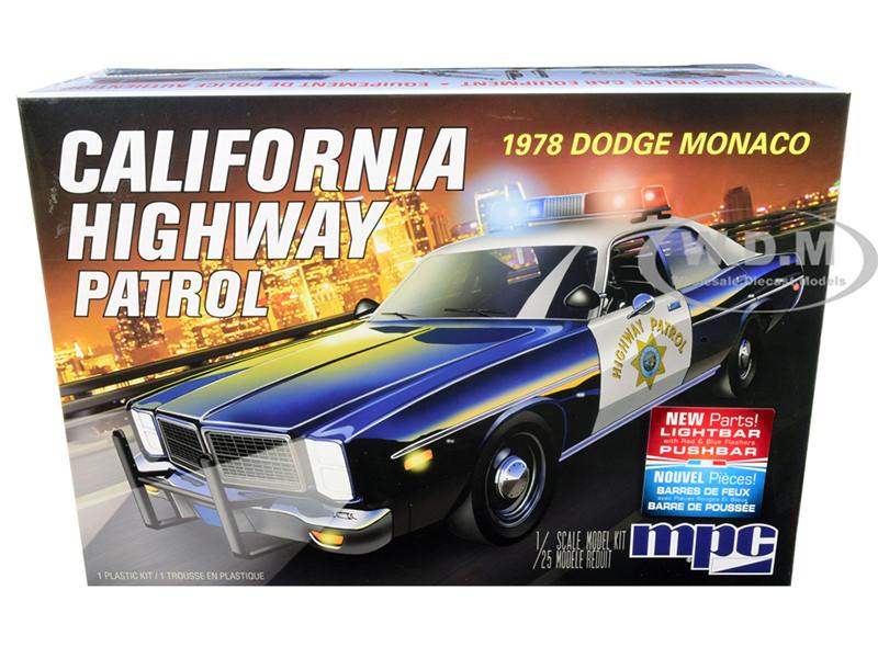 Skill 2 Model Kit 1978 Dodge Monaco CHP California Highway Patrol Police Car 1/25 Scale Model MPC MPC922 M