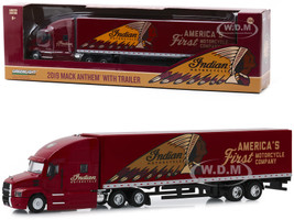 2019 Mack Anthem 18 Wheeler Tractor Trailer Indian Motorcycle America's First Motorcycle Company 1/64 Diecast Model Greenlight 30096
