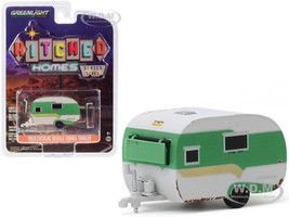 1959 Catolac DeVille Travel Trailer Green White Unrestored Hitched Homes Series 7 1/64 Diecast Model Greenlight 34070 A