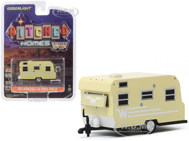 1965 Winnebago 216 Travel Trailer Yellow White Stripes Hitched Homes Series 7 1/64 Diecast Model Greenlight 34070 B