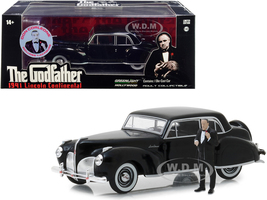 1941 Lincoln Continental Black Don Corleone Figurine The Godfather 1972 Movie 1/43 Diecast Model Car Greenlight 86552
