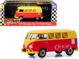 1967 Volkswagen Type 2 T1 Station Wagon Bus Yellow Red Fast Times at Ridgemont High 1982 Movie 1/43 Diecast Model Greenlight 86554