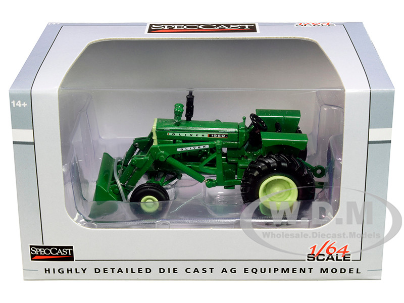 Oliver 1950 Wide Front Tractor with Loader Green 1/64 Diecast Model SpecCast SCT733
