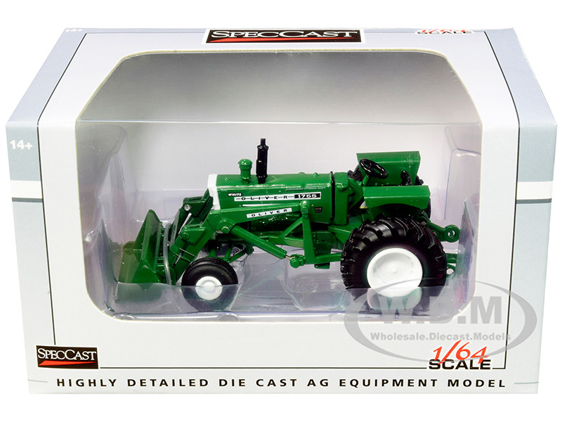 White Oliver 1755 Wide Front Tractor with Loader Green 1/64 Diecast Model SpecCast SCT734
