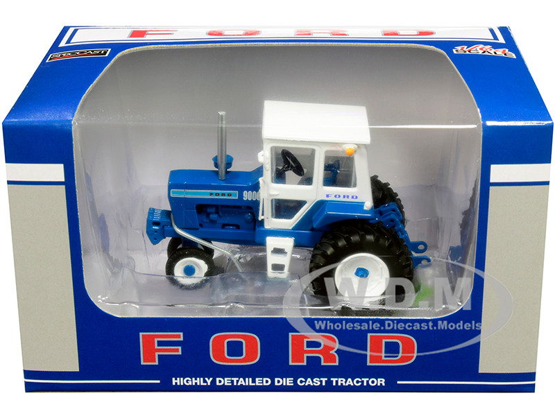 Ford 9000 Narrow Front Tractor with Cab Blue White 1/64 Diecast Model SpecCast ZJD1834