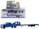 2019 Ford F-350 Lariat Pickup Truck Gooseneck Trailer Blue Hitch & Tow Series Limited Edition 2438 pieces Worldwide 1/64 Diecast Model Car Greenlight 51307