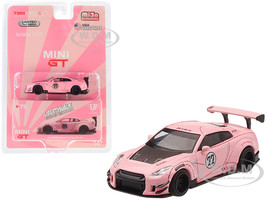 Nissan GT-R R35 #77 Pink Pig Type 2 LB Works LibertyWalk Rear Wing Limited Edition 3600 pieces Worldwide 1/64 Diecast Model Car True Scale Miniatures MGT00076