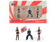 Mr Kato with Flag and 2 Show Girls LB Works LB Performance 3 piece Figurine Set Type A 1/64 Scale Models True Scale Miniatures MGTAC04