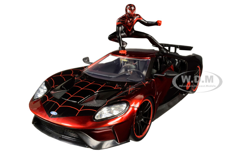 2017 Ford GT Miles Morales Diecast Figurine Spider Man Marvel Series 1/24 Diecast Model Car Jada 31190
