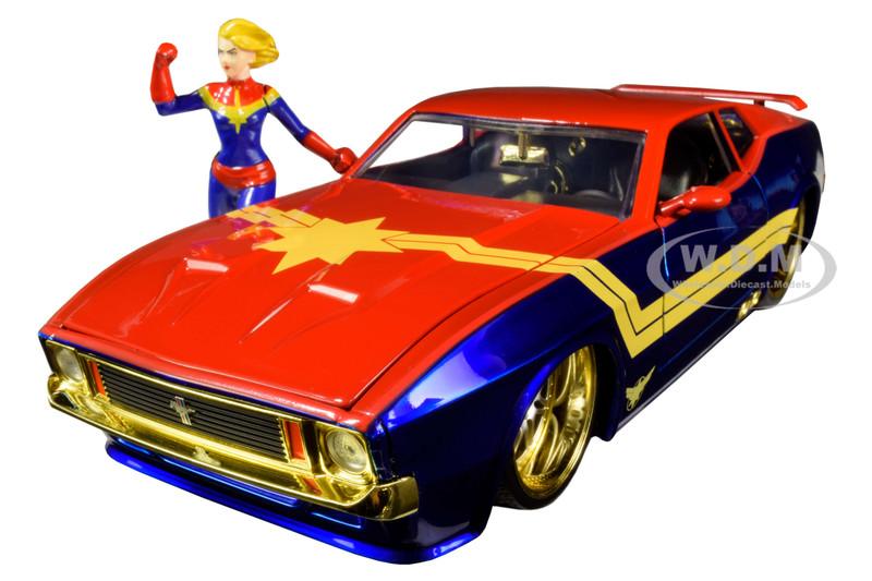 1973 Ford Mustang Mach 1 Captain Marvel Diecast Figurine Avengers Marvel Series 1/24 Diecast Model Car Jada 31193